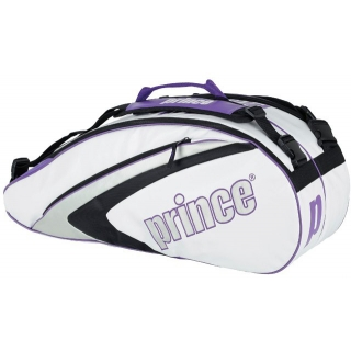 Prince Aspire Six Pack Tennis Bag (White/ Purple/ Silver)