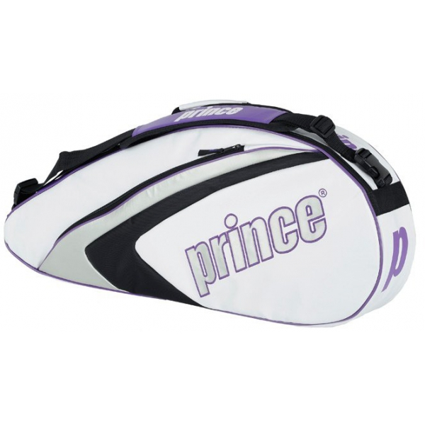 Prince Aspire Triple Tennis Bag (White/ Purple/ Silver)