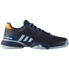 Adidas Barricade 2017 xJ Junior Tennis Shoe (Mystic Blue/Glow Orange) - Tennis Shoes for Kids