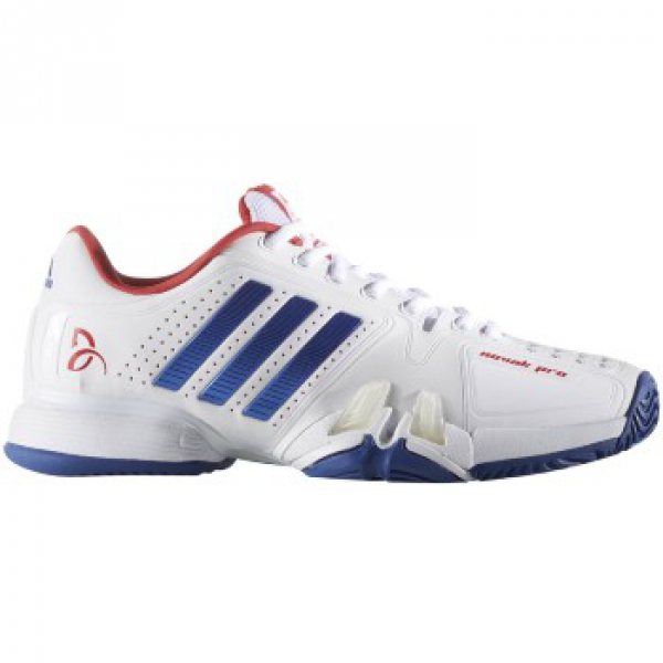 Adidas Barricade Novak Pro Tennis Shoes (White/Blue/Red)