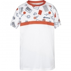 Babolat Boy's Compete Crew Neck Tennis Tee w/ Performance Polyester (White/Pureed Pumkin) - New Style Tennis Apparel