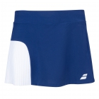 Babolat Girls Compete Tennis Skirt w/Built-in Shorts and Performance Polyester (White/Estate Blue) - Girl's Bottoms
