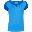 Babolat Girl's Play Cap Sleeve Tennis Tee (Blue Aster) -