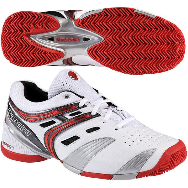 Babolat Men's V-Pro Clay Tennis Shoes (White/ Red/ Silver)