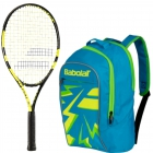 Babolat Nadal Jr Tennis Racquet, Blue Backpack Bundle - Junior Bundle Packs