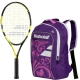 Babolat Nadal Jr Tennis Racquet, Purple Backpack Bundle - Junior Bundle Packs