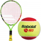 Babolat Ballfighter 17 Tennis Racquet, Red Felt Tennis Ball Bundle - Junior Tennis Racquet + Ball Bundles