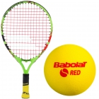Babolat Ballfighter 17 Tennis Racquet, Red Foam Tennis Ball Bundle - Junior Tennis Racquet + Ball Bundles