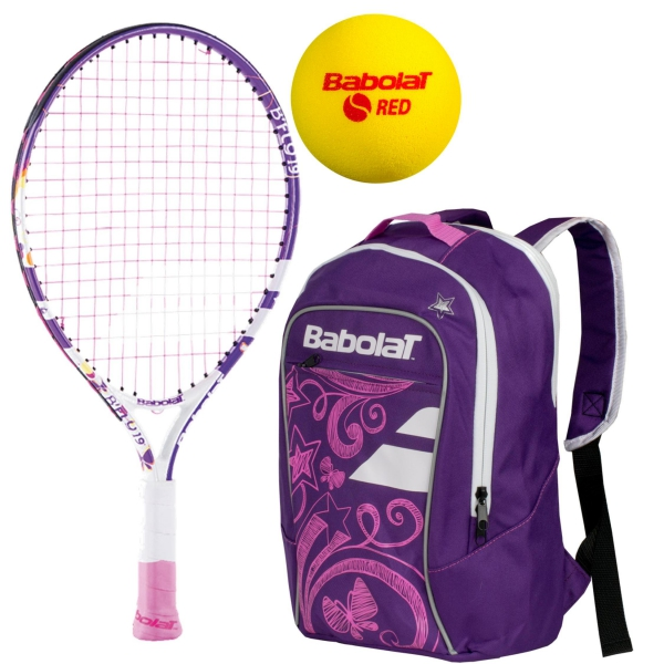 Babolat B'Fly Child's Tennis Racquet, Purple Junior Backpack and Red Foam Balls
