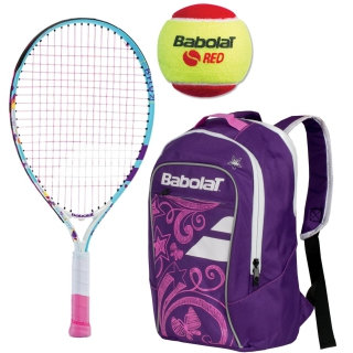 Babolat B'Fly Child's Tennis Racquet, Purple Junior Backpack and Red Felt Balls