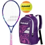 Babolat B'Fly Child's Tennis Racquet, Purple Junior Backpack and Orange Balls