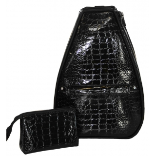 40 Love Courture Black Croc Betsy Tennis Backpack