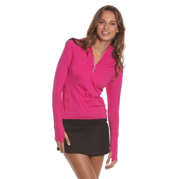 Bloq-UV Mock Zip Long Sleeve Top (Passion Pink)
