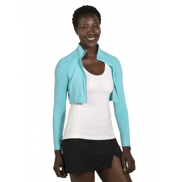 BloqUV Women's Long Sleeve Full Zip Sun Protective Athletic Crop Top (Light Turquoise)