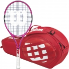 Wilson Burn Pink Junior Racquet, Red Match 3-Pack - Wilson