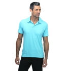 BloqUV Men's UPF 50+ Sun Protection Short Sleeve Polo Shirt (Light Turquoise) - BloqUV Sun Protective Tennis Apparel
