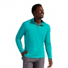 BloqUV Men's UV Protection Mock Zip Long Sleeve Shirt (Caribbean Blue) - BloqUV Sun Protective Tennis Apparel