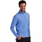 BloqUV Men's UV Protection Mock Zip Long Sleeve Tennis Shirt (Indigo) -