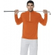 BloqUV Men's UV Protection Mock Zip Long Sleeve Shirt (Orange) - Men's Long-Sleeve Shirts