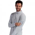 BloqUV Men's UV Protection Mock Zip Long Sleeve Tennis Shirt (Soft Gray) -