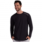 BloqUV Men's Long-Sleeve Sun Protective Jet Athletic Tennis Tee Shirt (Black) -