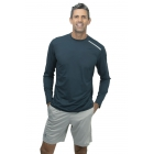 BloqUV Men's Long-Sleeve Sun Protective Jet Athletic Tee Shirt (Midnight Blue) - Bloq-UV Men's Tennis Apparel