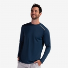 BloqUV Men's Long-Sleeve Sun Protective Jet Athletic Tee Shirt (Midnight Blue) - BloqUV Sun Protective Tennis Apparel