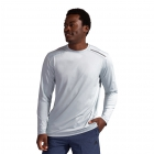 BloqUV Men's Long-Sleeve Sun Protective Jet Athletic Tennis Tee Shirt (Soft Gray) -