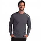 BloqUV Men's Long-Sleeve Sun Protective Jet Athletic Tennis Tee Shirt (Smoke) - Bloq-UV Men's Tennis Apparel