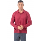 BloqUV Men's UPF 50+ Long-Sleeve Collared Shirt (Red Wine) - BloqUV Sun Protective Tennis Apparel