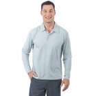 BloqUV Men's UPF 50+ Long-Sleeve Collared Shirt (Soft Gray) - BloqUV Sun Protective Tennis Apparel