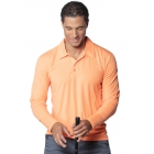 BloqUV Men's UPF 50+ Long-Sleeve Collared Shirt (Tangerine) - BloqUV Sun Protective Tennis Apparel