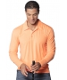 BloqUV Men's UPF 50+ Long-Sleeve Collared Shirt (Tangerine) - Men's Tops