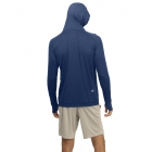BloqUV Men's UPF 50+ Sun Protective Long Sleeve Pullover Hoodie (Navy) - Bloq-UV Men's Tennis Apparel
