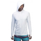 BloqUV Men's UPF 50+ Sun Protective Long Sleeve Pullover Hoodie (White) - Bloq-UV Men's Tennis Apparel