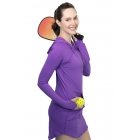 BloqUV Women's Sun Protective Long Sleeve Hoodie Dress (Purple) - BloqUV Sun Protective Tennis Apparel