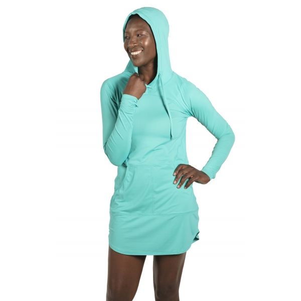 BloqUV Women's Sun Protective Hoodie Dress (Caribbean Blue)
