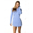 BloqUV Women's Sun Protective Long Sleeve Hoodie Dress (Lavender) - Women's Tennis Apparel
