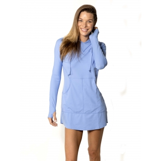 BloqUV Women's Sun Protective Hoodie Dress (Indigo)