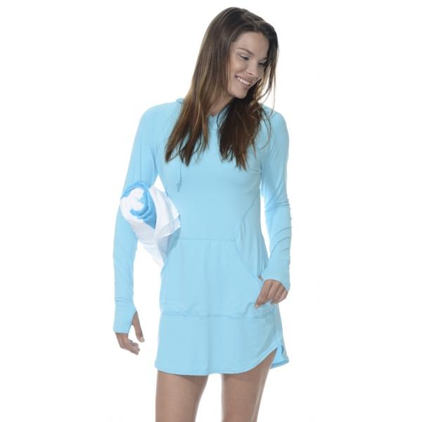 BloqUV Women's Sun Protective Hoodie Dress (Light Turquoise)