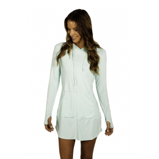 BloqUV Women's Sun Protective Hoodie Dress (Mint)