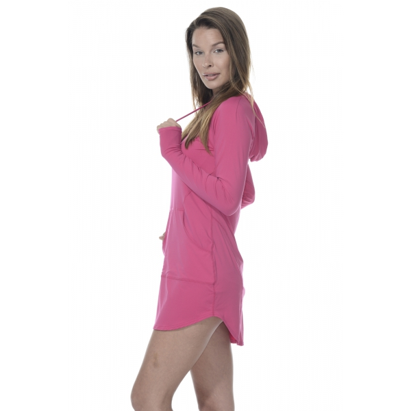 BloqUV Women's Sun Protective Hoodie Dress (Passion Pink)