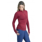 BloqUV Women's Adjustable Length Sun Protective Long Sleeve Coverup (Red Wine) - Women's Tennis Apparel