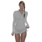 BloqUV Women's Adjustable Length Sun Protective Long Sleeve Coverup (Soft Gray) - Women's Tennis Apparel