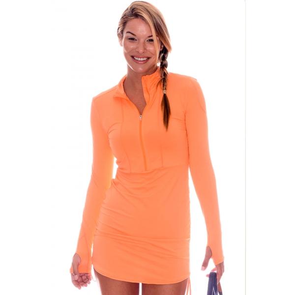 BloqUV Women's Sun Protective Cover Up Dress (Tangerine)