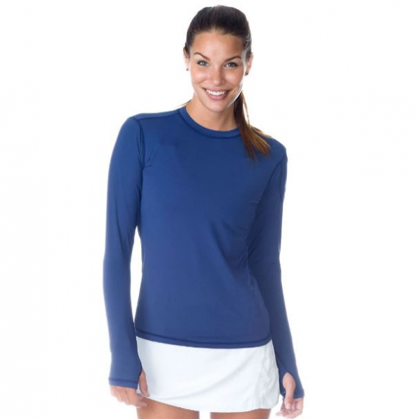 Bloq-UV Long Sleeve Tennis Pullover (Twilight Blue)