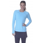 Bloq-UV Long Sleeve Tennis Pullover (Light Turquoise) - Women's Tennis Apparel