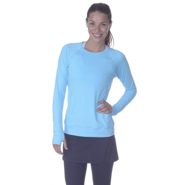 Bloq-UV Long Sleeve Tennis Pullover (Light Turquoise)