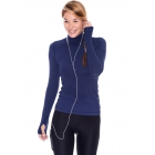 Bloq-UV Turtleneck Long Sleeve Top (Navy) - Women's Warm-Ups