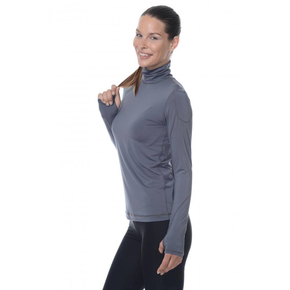 Bloq-UV Turtleneck Long Sleeve Top (Smoke)
